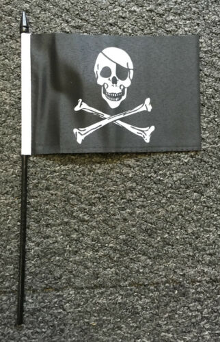 PIRATES Large Hand Flag Jolly Roger Pirate Scarf Fancy Dress Party Business bn