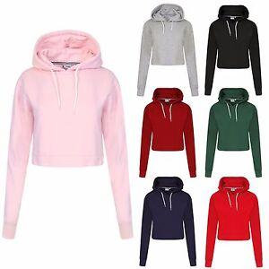 cf088fcbf Details about Womens Ladies Crop Top Hoodie Plain Pullover Sweatshirts  Hoodies Jumpers XS-L