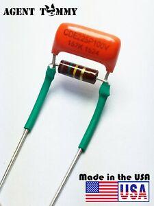 Treble-Volume-Bleed-Circuit-Kit-0015uf-Orange-drop-cap-150k-Allen-Bradly-Rstr