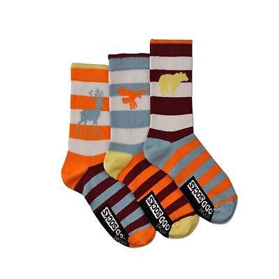 United Oddsocks Zebra Trio Mis-Matched Bright Animals UK 12-5.5 Kids Socks Gift