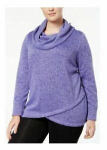 Ideology Women Snit Sweater Cowl-Neck Pullover Sweatshirt Long Sleeve Purple 2XL