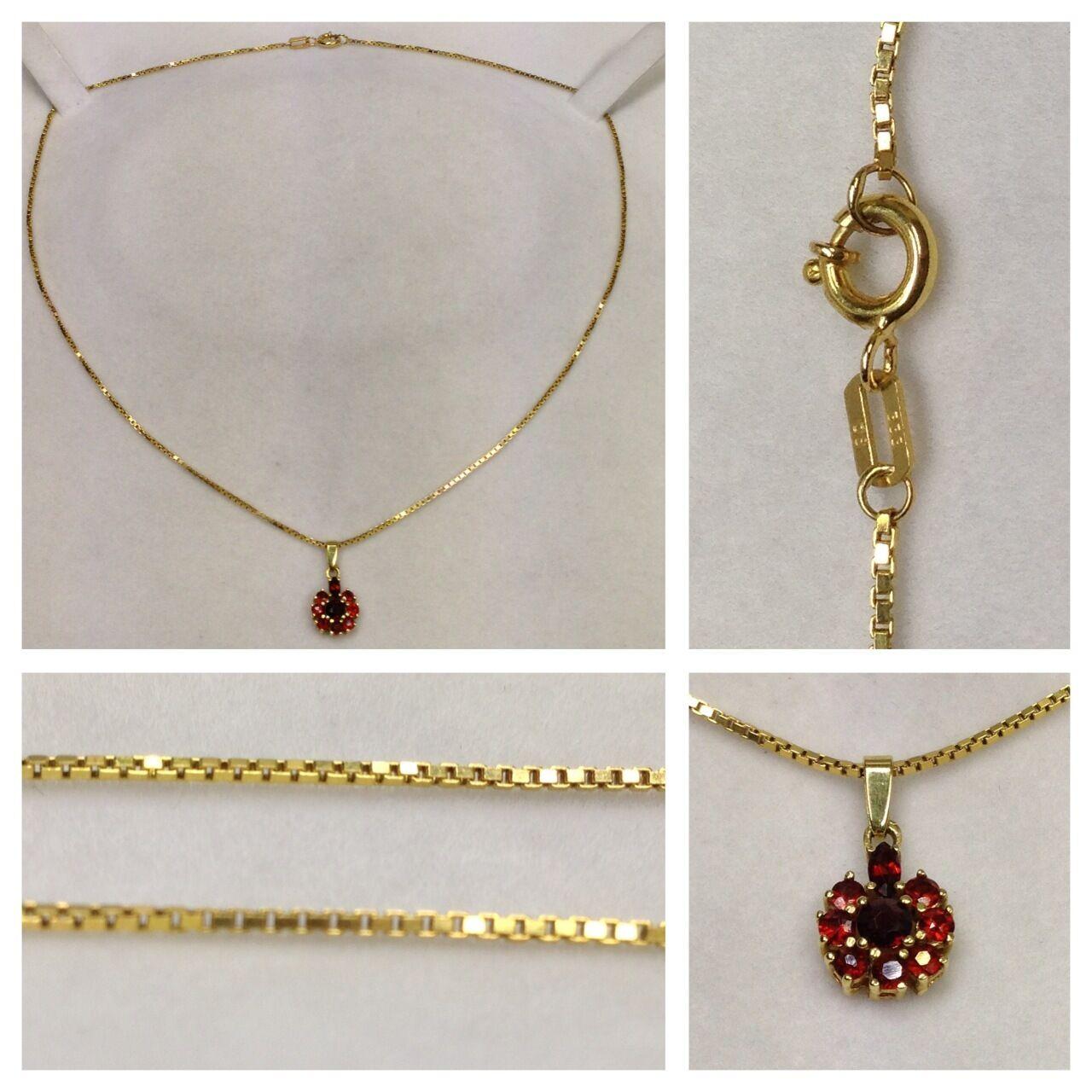 Cadena Veneciana Collar 333 gold CON COLGANTE granate collar de gold Collar 40cm