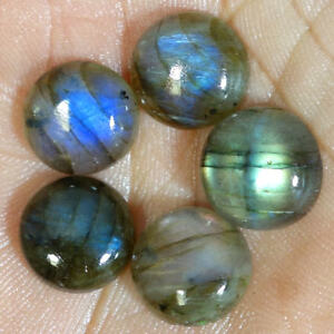 100-NATURAL-LABRADORITE-ROUND-CABOCHON-LOOSE-GEMSTONE-5-Pcs-LOT-13MM-14MM-15MM