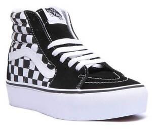 971e85470e Vans Sk8 Hi Platform Womens Black White Suede Leather Trainer Size ...