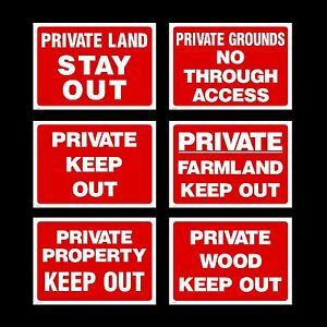 Private Property / Wood / Grounds / Farmland - Plastic Sign / Sticker / Metal
