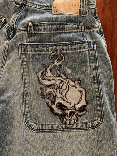 JNCO Jeans - VINTAGE FLAMING SKULL Skater Wide Leg