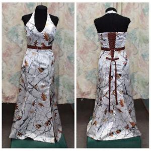 White Camo Wedding Dress Camouflage Bridal Gown Halter Belt Straps V