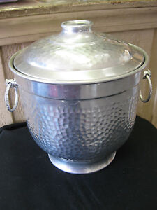 Image is loading Vintage-Hammered-Aluminum-Ice-Bucket-w-Lid-RAY-