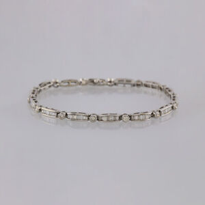 2-6-Carat-Baguette-and-Round-Brilliant-Cut-Diamond-Line-Bracelet-18ct-White-gold