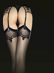 Bas-Voile-motif-fantaisie-Femme-pour-porte-jarretelle-20Den