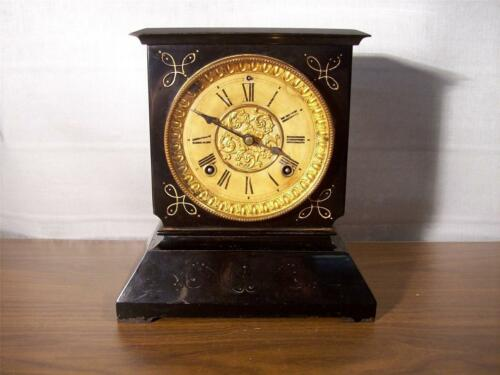 Antique Ansonia Iron Case 8 Day Mantle Clock In Running Condition