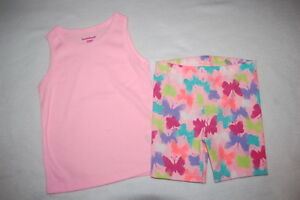 522999b95 Toddler Girls PINK RIBBED TANK TOP Multi-Color BUTTERFLY PRINT Bike ...