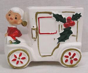 Vintage NAPCO Christmas Porcelain Car Planter with Girl on hood Japan 1960s