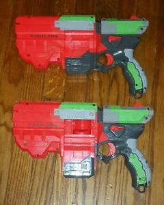 Lot-of-2-Nerf-Vortex-Vigilon-Soft-Disc-Gun-toys-Blasters-Tested-Work-Great-SET