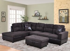 Marvelous Details About Lifestyle Furniture 3Pc Sectional Sofa Set With Free Ottoman 2 Pillows Espresso Lamtechconsult Wood Chair Design Ideas Lamtechconsultcom
