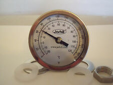 """New Jarhill 2.5"""" Probe 0-250°F 3"""" Face 1/2"""" NPT Home Brew  Kettle Thermometer"""
