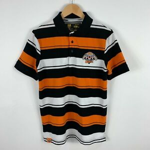 NRL-West-Tigers-Shirt-Mens-Small-Striped-Short-Sleeve-Collared-Classic