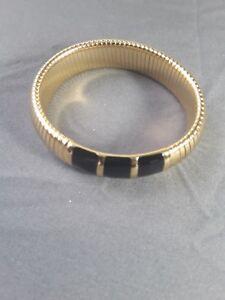 Vintage black and gold enamel Monet bangle