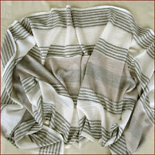 CASHMERE SHAWL 100% HANDWOVEN SUPER SOFT FAWN GREY CREAM LACY PATTERN