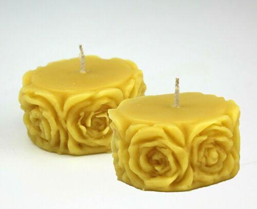 2pcs fait à la main 100/% Naturel Cire D/'Abeille Mignon Fleur Rose Bougies