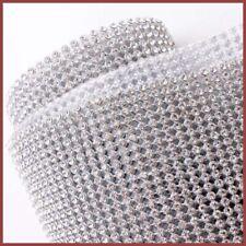 CLEAR 3 Strip Diamonte 3mm Chaton Ribbon Clear Silver Iron-On Crystal Diamante