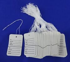 100 White Strung Garment Merchandise Price Tags Small