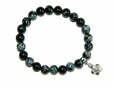 0073 - Beautiful Snowflake Obsidian Gemstone Beads Mala Bracelet & Wealth Charm