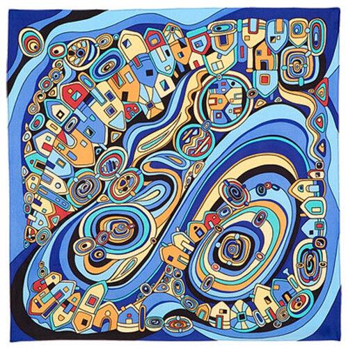 Seidentuch Tuch Kopftuch designer Haartuch Seide 90x90 Motiv a la Hundertwasser
