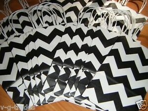 Lot Small Gift Bags 100 Chevron Black And White Kraft Paper Shopping