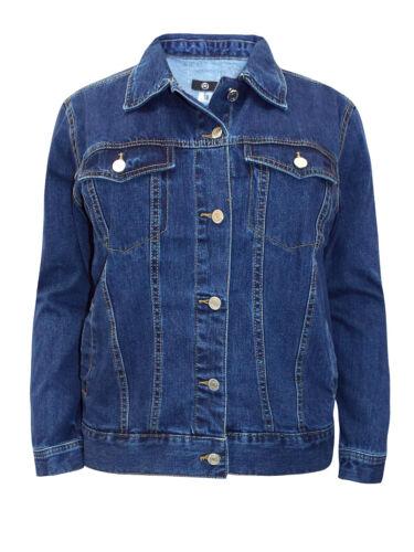 Grande Taille Femme Femmes Bleu Foncé Veste en jean 14 16 18 20 22 24 26