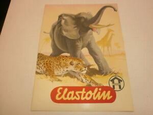 altes-Hausser-Elastolin-Werbeposter-Reklame-Plakat-mit-Tieren-Elefant-Leopard