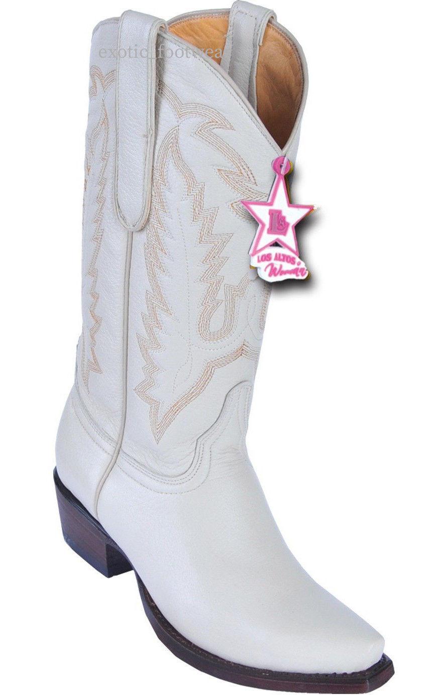 WOMEN LOS ALTOS WINTER WHITE (CREAM) GENUINE DEER SNIP TOE WESTERN COWBOY BOOT