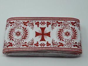 Orphrey-Vintage-Cruz-Rojo-Encendido-Blanco-Vestment-Banda-11-4cm-Ancho-12-8m