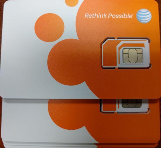 AT&T ATT FACTORY NANO SIM.  4G LTE sim card  NEW UNACTIVATE, TRIPLE CUT 3 IN 1