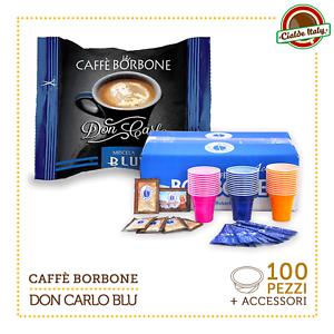 100-Capsule-Borbone-Don-Carlo-Miscela-Blu-Lavazza-a-Modo-mio-con-accessori