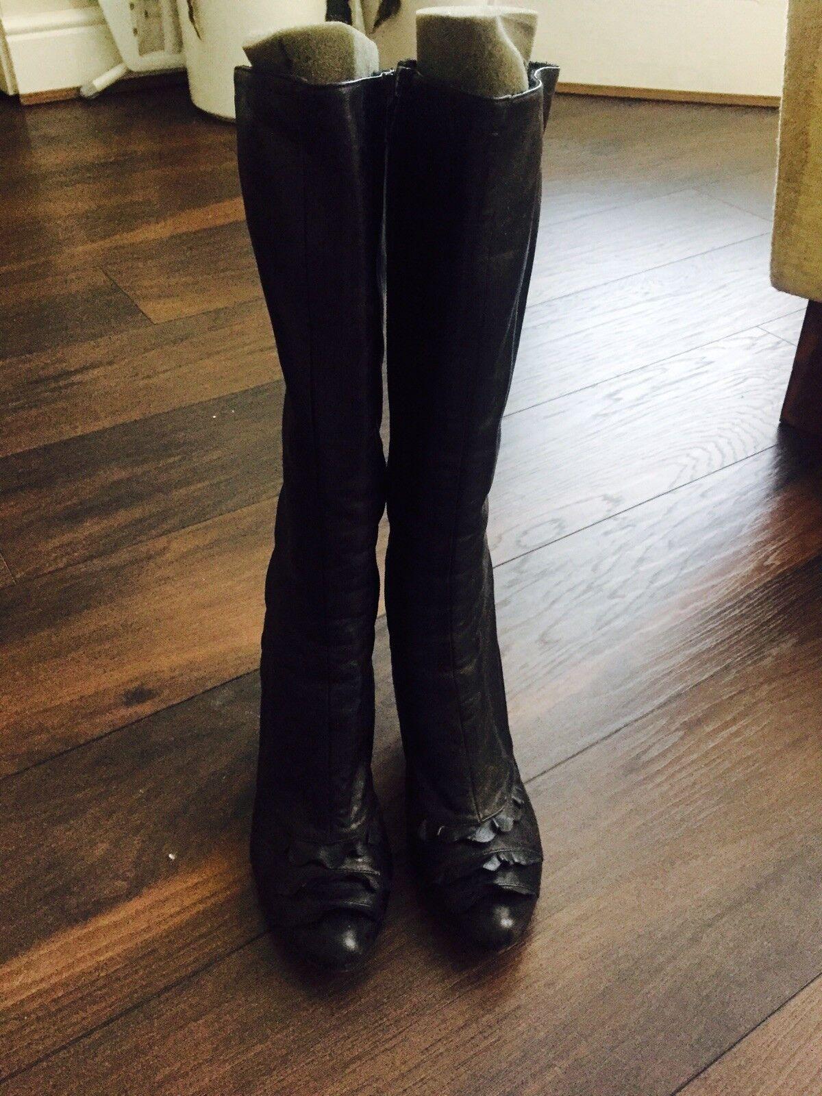 Noir Bottes en cuir-Taille 5