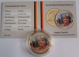 2 Euro Münze Bundeskanzlerin Angela Merkel Mit Gold Ebay