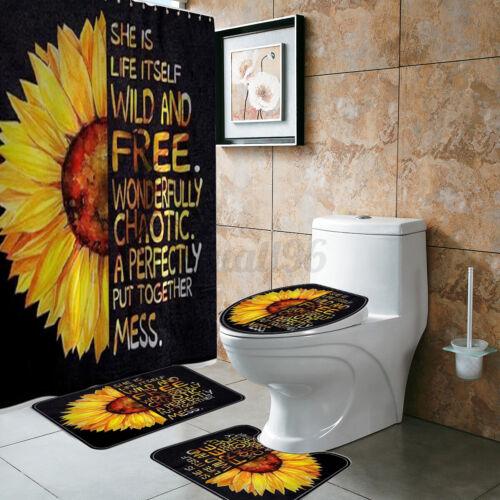 Sunflower Shower Curtain Bath Mat Bathroom Rugs Pedestal Lid Toilet Cover Set US