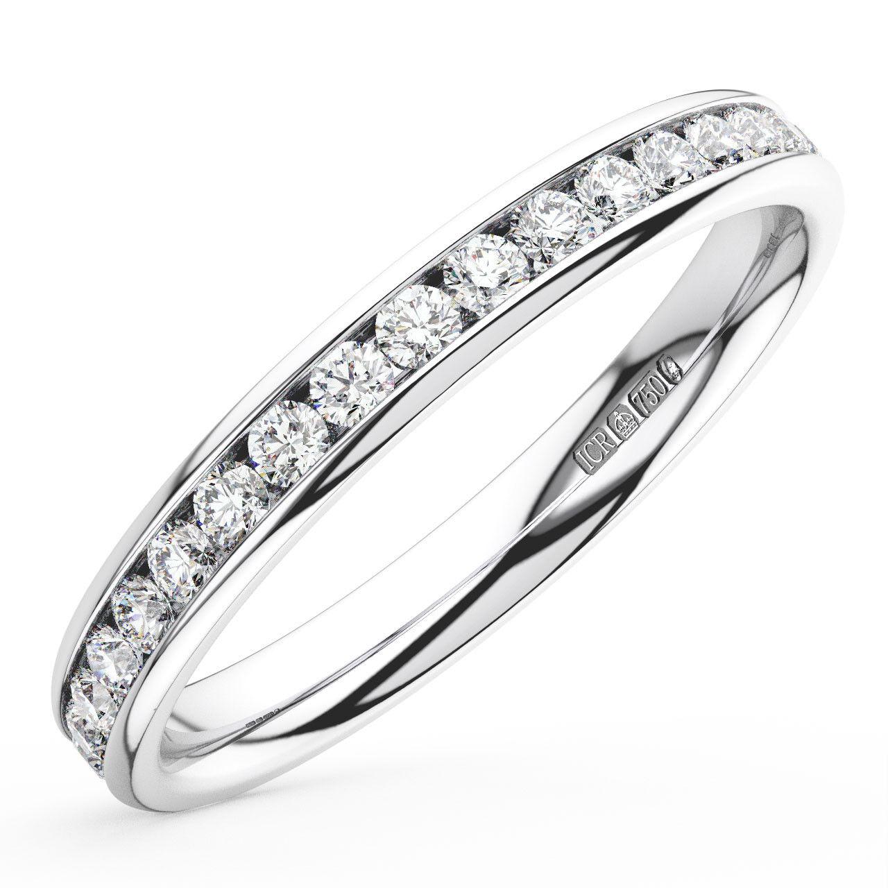 0.50CT Round Brilliant Cut Diamonds Full Eternity Wedding Ring in 18K White gold