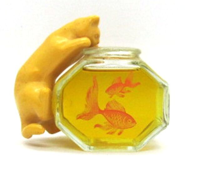 Avon Curious KITTY Cat with Fishbowl Bottle with Here's My Heart Cologne Perfume