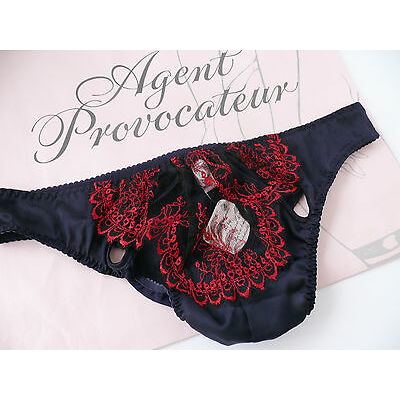 AGENT PROVOCATEUR EMENUELL BRIEF NAVY/RED SIZE XLARGE / 5 / 14-16 BNWT