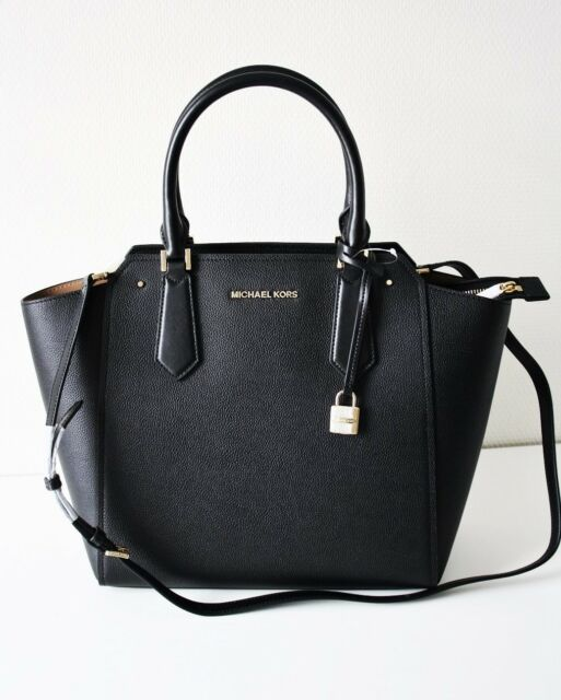 f43ba1086b3a Michael Kors Pebbled Leather Hayes Large North South Tote Bag in Black