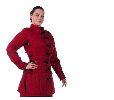 Black /& Red Medieval Gambeson Jacket Padded Armor SCA LARP WMA Multiple Size