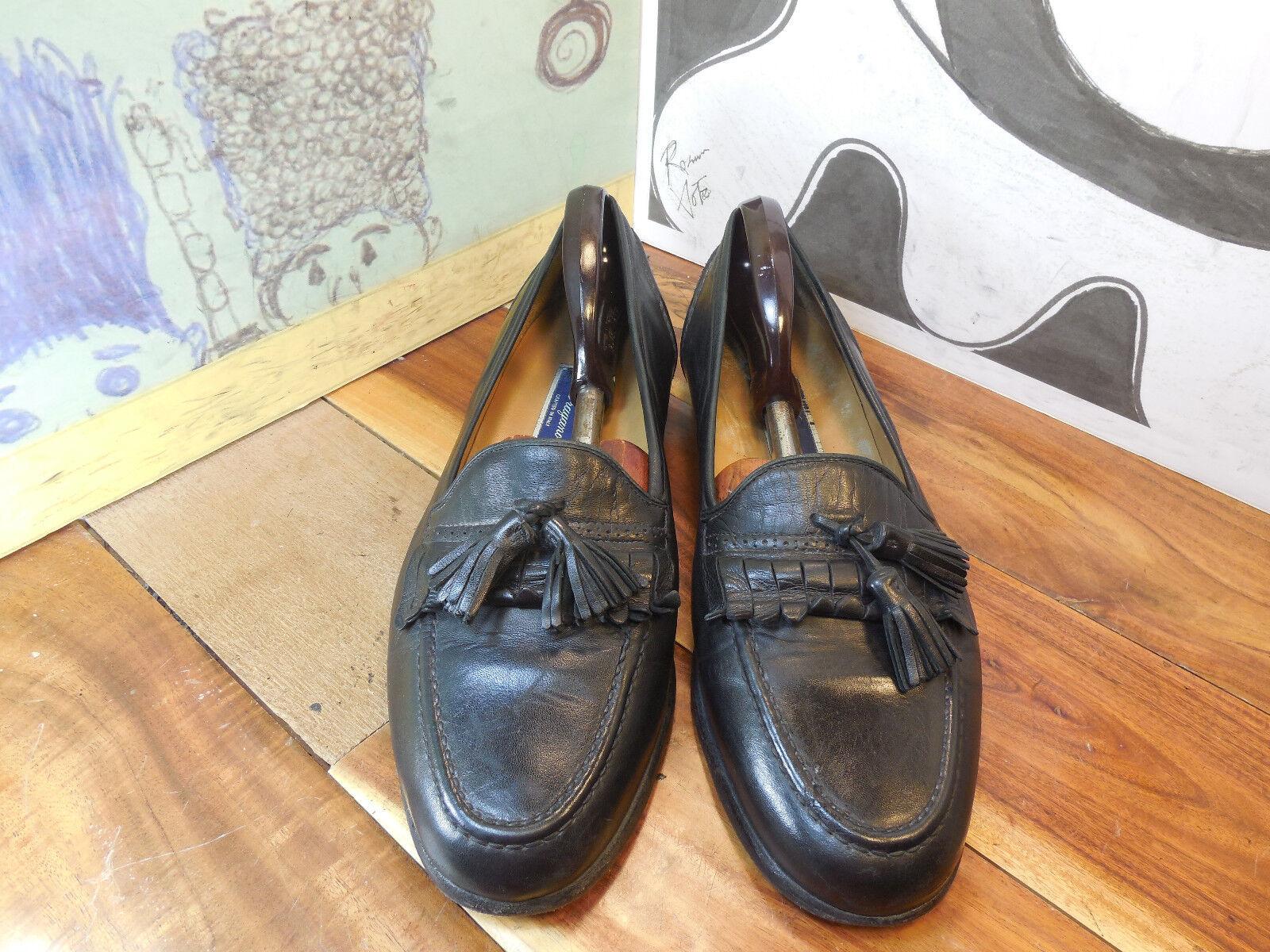 Bragano Black Leather 11.5M Kiltie Tassel Loafers Men's 11.5M Leather #C00895 Made in Italy 2e42b5