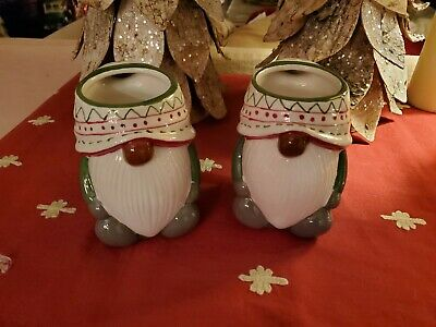 NIB Pottery Barn Gnome Mug Ceramic Figural Christmas Coffee Cup Cocoa 12 oz