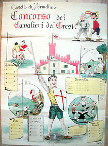 1952-FORMELLINO-DI-FAENZA-BELLISSIMO-DIPINTO-GOLIARDICO-GREST-RAGAZZI-FAENTINI