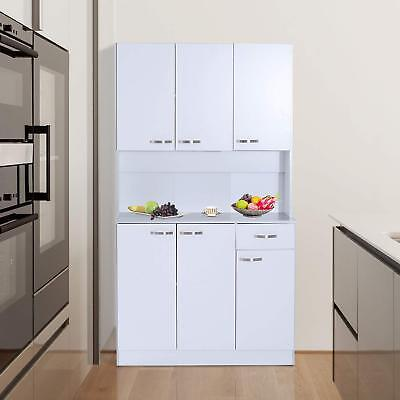 Tall 71 Kitchen Pantry Hutch Storage Microwave Cabinet Server Wood White Gray 719574742833 Ebay