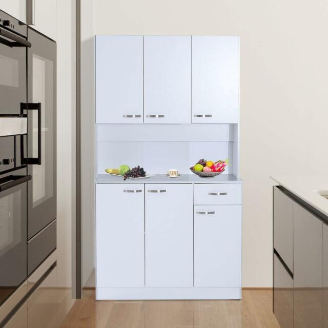 Tall 71 Kitchen Pantry Hutch Storage Microwave Cabinet Server Wood White Gray