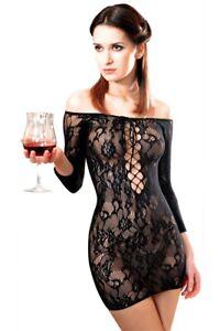 Robe sexy résille Fetish Dinner résille Noir Anne d'Alès