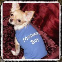 Dog Pet Clothes T-shirt Mommy's Boy Tank Tee Tiny/xs Blue